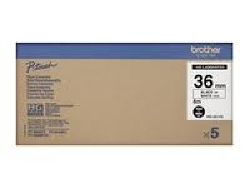 P-touch Multipack 36mm Black On White Laminate