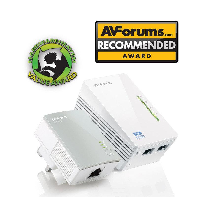 TPLINK TLWPA4220KIT AV500 Powerline 300M WiFi ExtenderWiFi BoosterHotspot with Two Ethernet Ports Starter KitTwin Pack