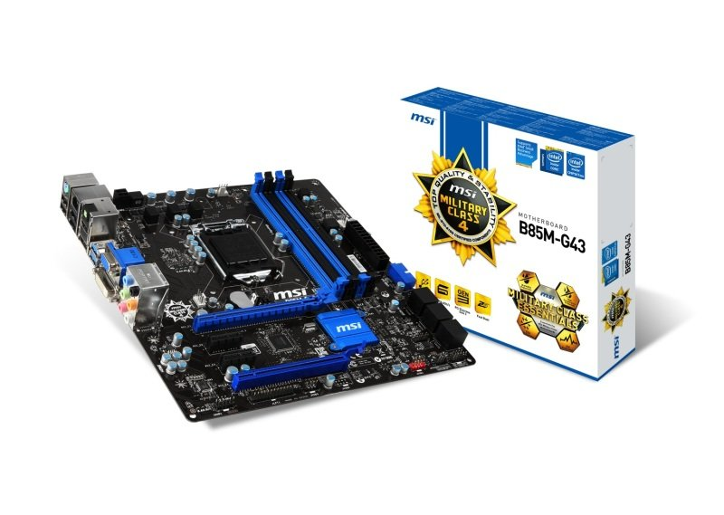 MSI B85M-G43 Socket 1150 VGA DVI HDMI DisplayPort 8 Channel Audio mATX Motherboard