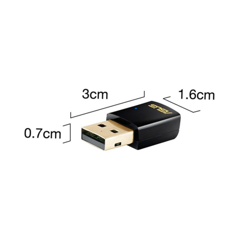 Asus USB-AC51 AC Dual-band Wireless-AC600 USB Adapter, WPS, Graphical Easy Interface