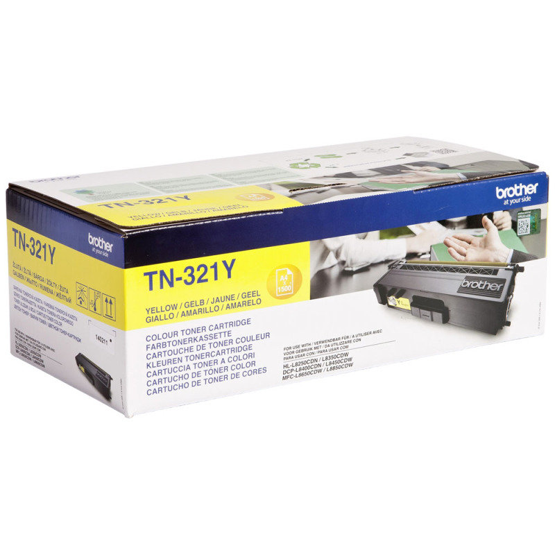Brother TN-321Y Yellow Toner Cartridge - 1,500 Pages