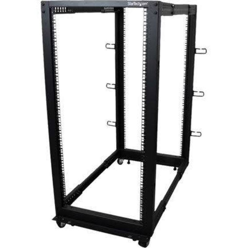 Startech.com 25u Adjustable Depth Open Frame 4 Post Server Rack With Casters / Levelers And Cable Management Hooks