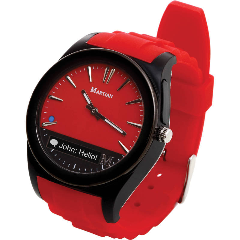 Image of Martian MN200RBR Notifier Analogue Watch with OLED Readout - Black/Red