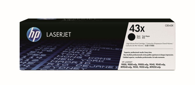 HP 43X Black Toner Cartridge  30000 Pages  C8543X