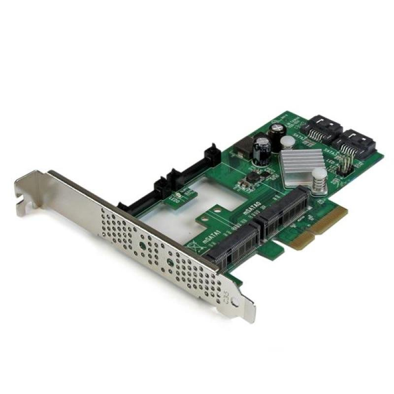 Startech com 2 Port Pci Express 2 0 Sata Iii 6gbps Raid Controller Card  With 2 Msata Slots And Hyperduo Ssd Tiering