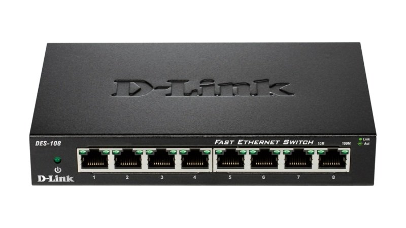 D-Link DES-108 - 8-port 10/100 Metal Switch