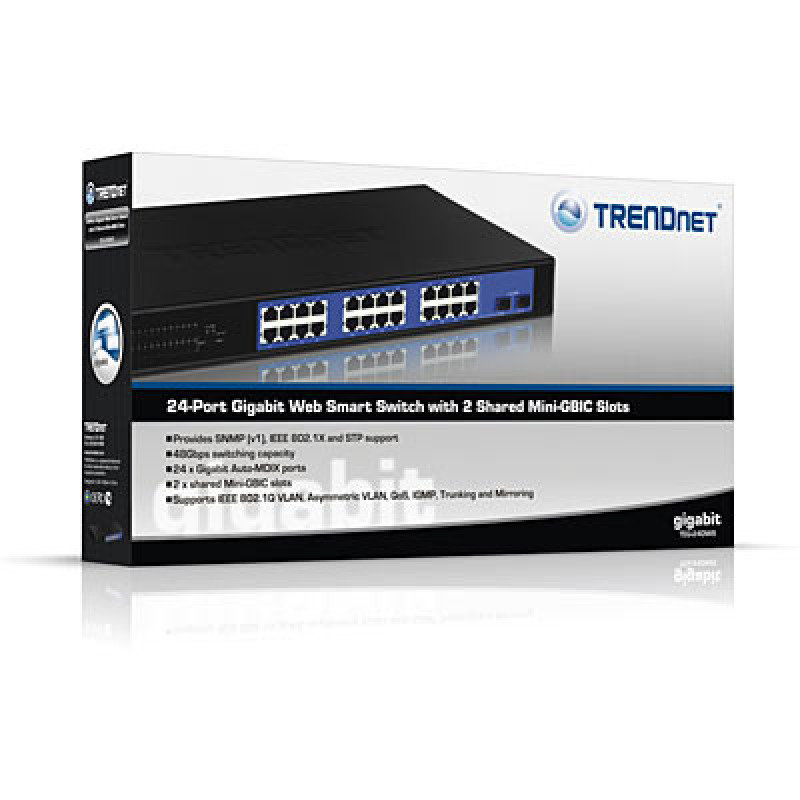 Trendnet TEG-240WS - 24-port Gigabit Web Smart Switch w/ 2 Shared Mini-GBIC Slots