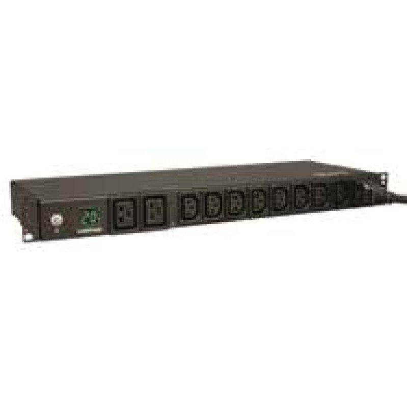 3.2-3.8kW Single-Phase Metered PDU, 200-240V (8 C13 & 2 C19), C20 / L6-20P Adapter, 12ft Cord, 1U Rack-Mount