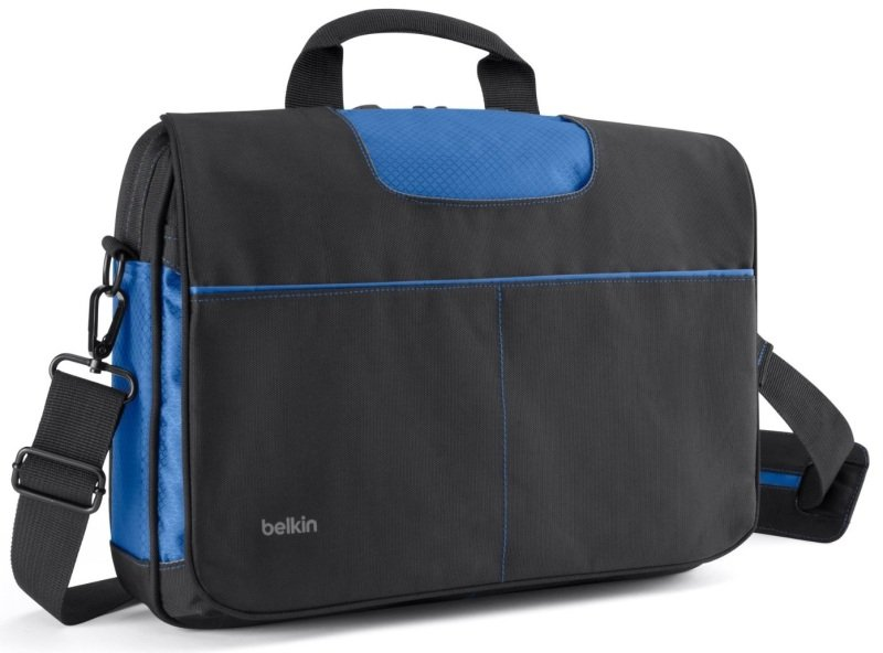 Image of Belkin Messenger Bag for 13 laptop Black/Blue bagged and labelled packaging- B2B076-C01