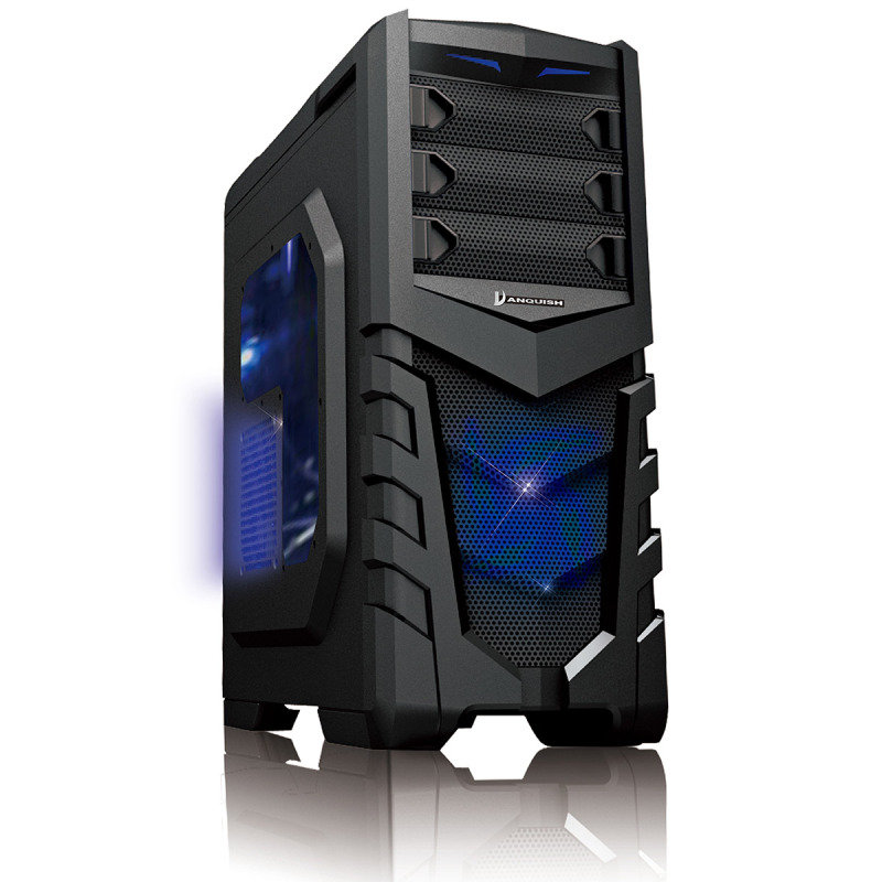 CiT Vanquish Gaming Case USB3 Toolless Side Window 2 x 12cm Blue LED Fans Retail
