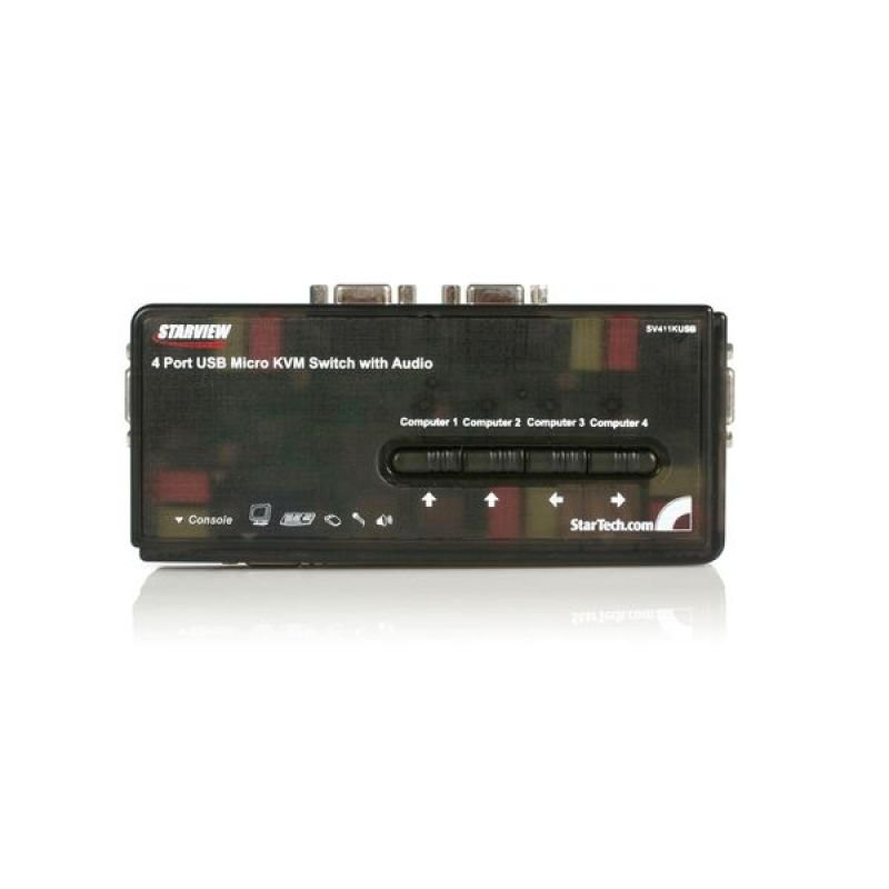StarTech.com 4 Port Black USB KVM Switch Kit with Cables and Audio - desktop KVM Switch - VGA KVM Switch - USB KVM Switch 4 Port