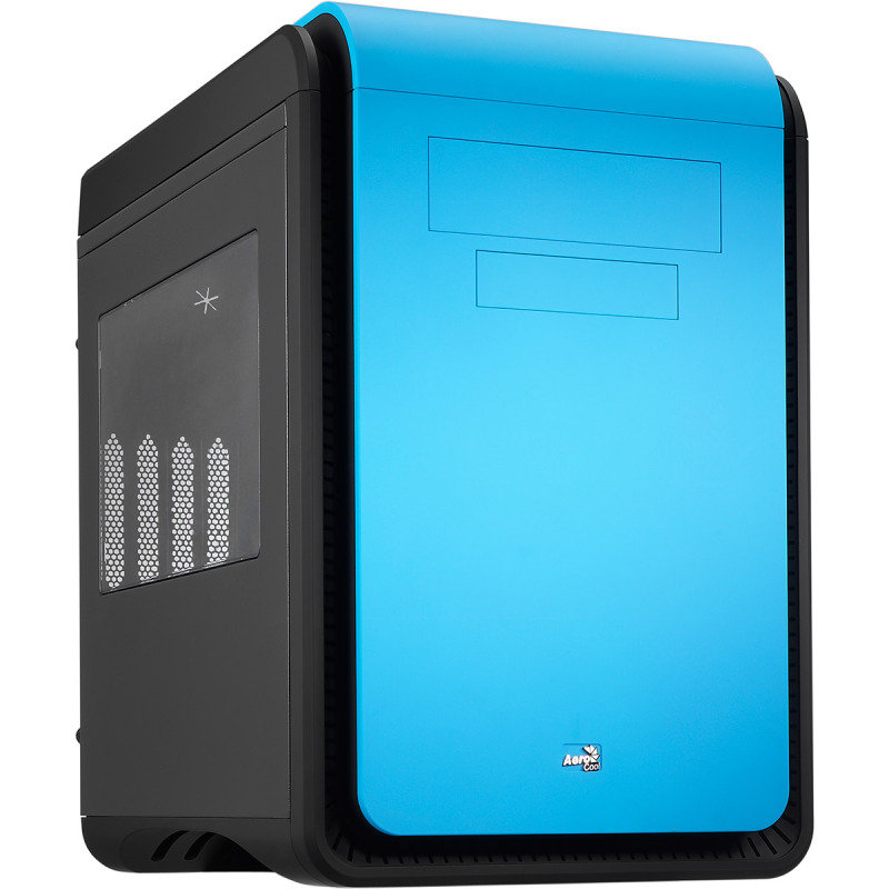 Aerocool Dead Silence Blue Gaming Cube Case 0.8mm MATX 2 x USB3 Side Window