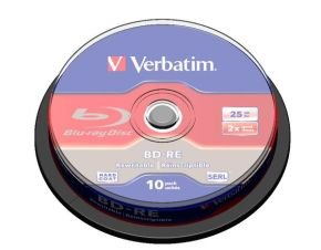 Verbatim 2x BD-RE 25GB Blu-Ray Discs - 10 Pack Spindle