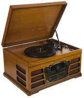 EXDISPLAY Wooden Retro Turntable with SD Card