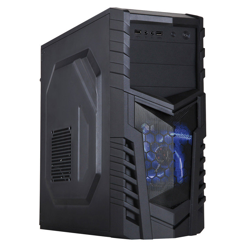 Image of CiT Defender Black Interior 500W 12cm Black Psu 12cm Blue LED Fan