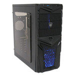 CiT Invader Gaming Case 12cm Blue LED Fan Side Window 1 x USB 3.0 & 1 x USB 2.0
