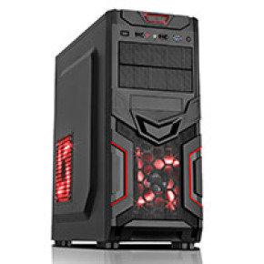 CiT Red Devil Mesh Gaming Case Black/Red Interior USB3 12cm Red LED Toolless