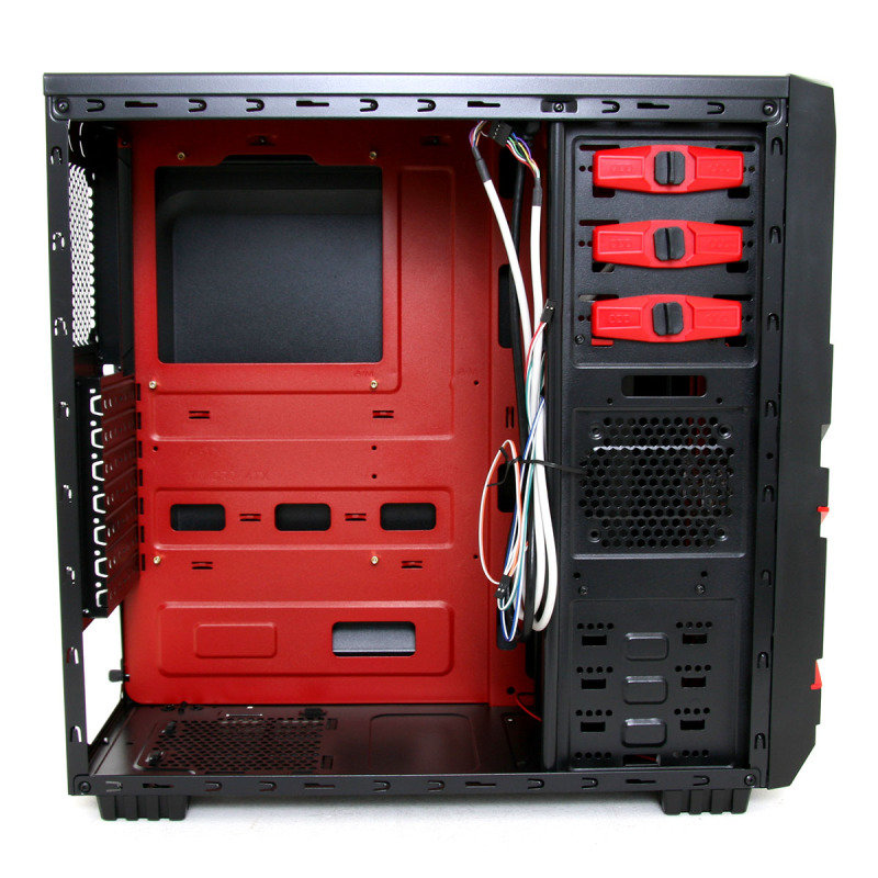 CiT Red Devil Mesh Gaming Case Black/Red Interior USB3 12cm Red LED Toolless