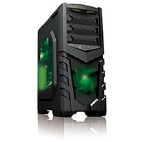 CiT Vanquish Gaming Case USB3 Toolless Side Window 2 x 12cm Green LED Fans Retail