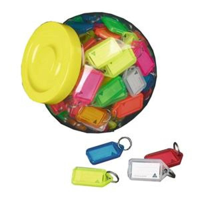 Kevron Keytags Plastic Tub Assorted - Pack of 100