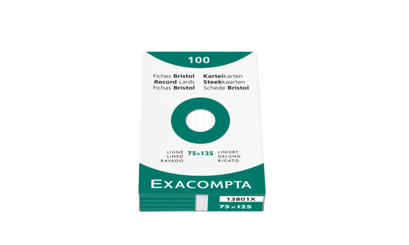 Image of Exacompta 125x200mm Plain White Record Cards - Pack of 100