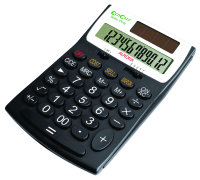 Aurora EcoCalc 12 Digit Desk Calculator - Black