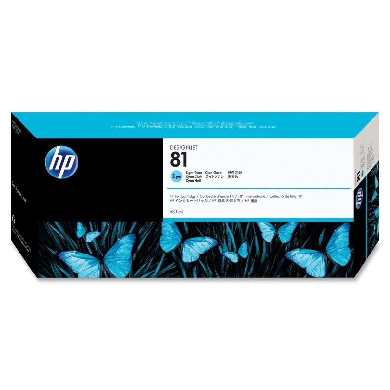 HP 81 Light Cyan Original Ink Cartridge - Standard Yield 680ml - C4934A