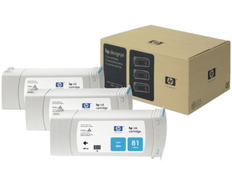 HP 83 UV Cyan Ink Cartridge - Pack of 3