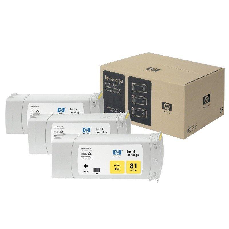 HP 83 UV Yellow Print cartridge  3 Pack  C5075A
