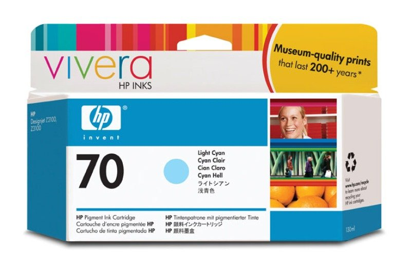 HP 70 Light Cyan Original Ink Cartridge - Standard Yield 130ml - C9390A
