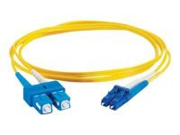 15m LC-SC 9/125 OS1 Duplex Singlemode PVC Fibre Optic Cable (LSZH) - Yellow
