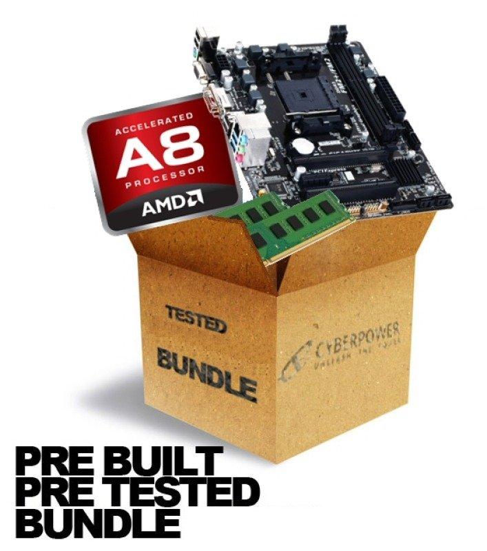 Image of Cyberpower A8 Storm Shadow GA-F2A68HM-HD2 AMD A8 7600 8GB DDR3 Memory Motherboard Bundle