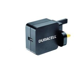 Duracell Single USB 2.4A UK Mains Charger - Black
