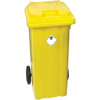 Yellow Clinical Waste 2 Wheel Refuse Container - 240 Litres