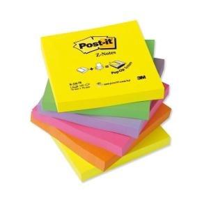 Post-it Z Notes Refill 76x76mm Neon Rainbow (pk6)