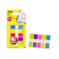 3m Post-it Index Flags 12mm 100 Tabs 5 assort Colours