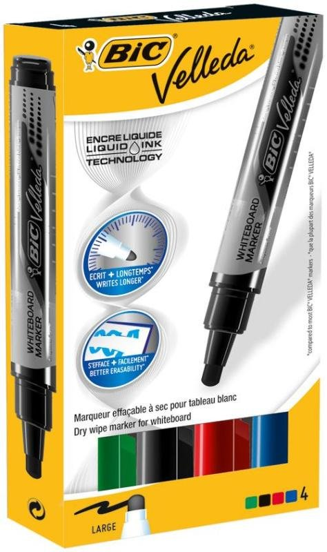 Bic Velleda Whiteboard Marker Liquid Ink - Assorted (pk4)