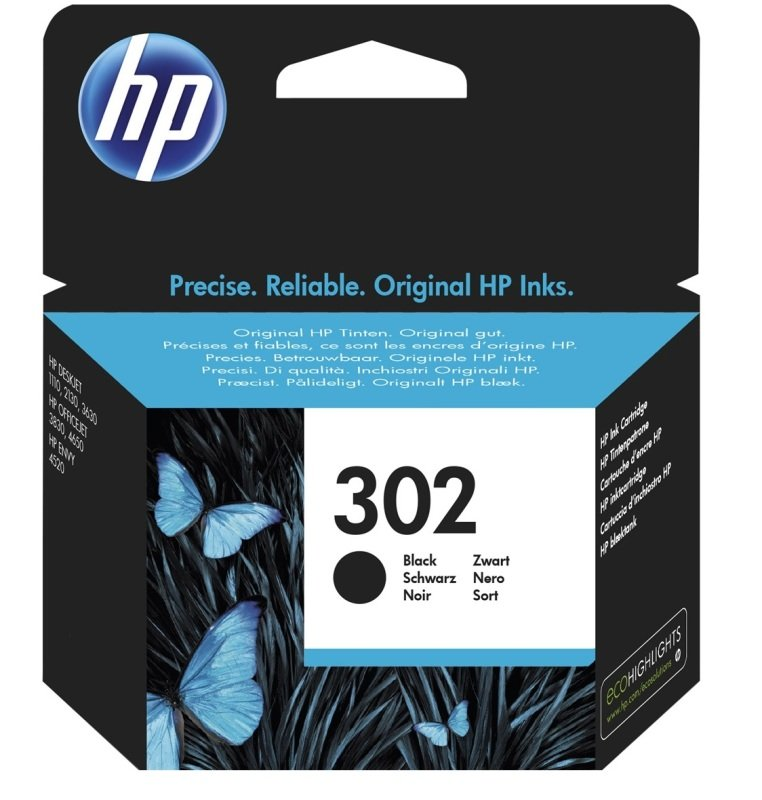 HP 302 Black Ink Cartridge  F6U66AE