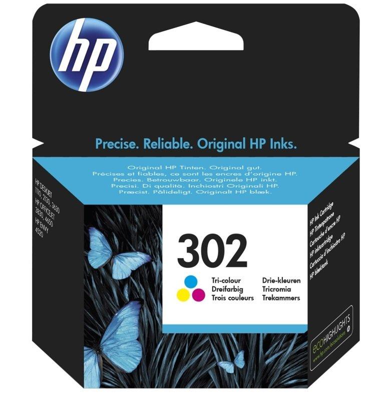 HP 302 Tri-Colour OriginalInk Cartridge - Standard Yield 165 Pages - F6U65AE
