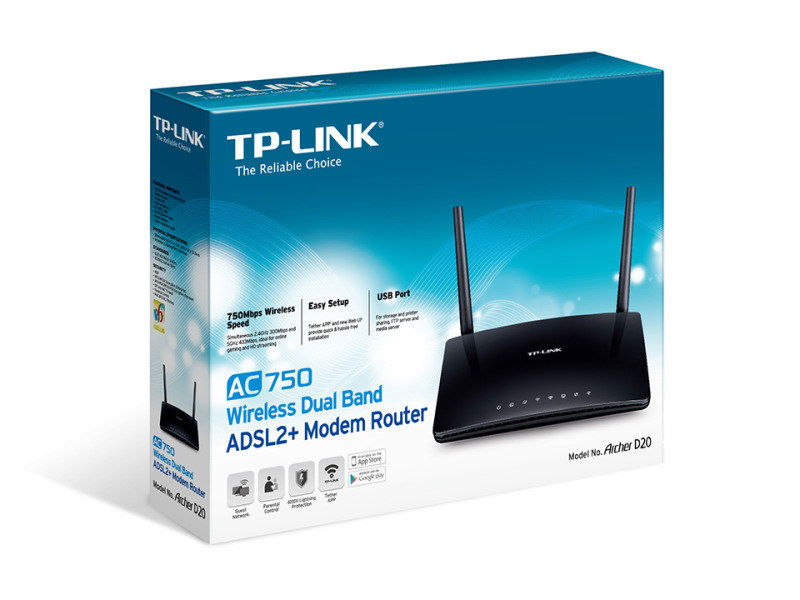 TP-Link AC750 Wireless Dual Band ADSL2+ Modem Router