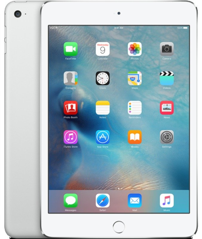 iPad Mini 4 Wifi Cellular 128GB 7.9inch Retina Display A8 CPU Chip iOS 9 Bluetooth 8MP and 1.2MP camera Apple SIM Silver