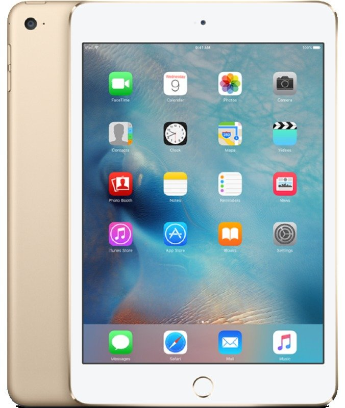 iPad Mini 4 Wifi Cellular 128GB 7.9inch Retina Display A8 CPU Chip iOS 9 Bluetooth 8MP and 1.2MP camera Apple SIM Gold