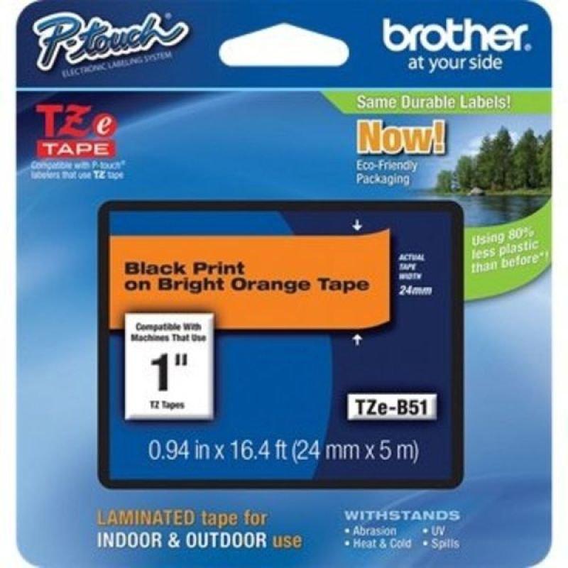 Brother TZe B51 Laminated tape- Black on Orange