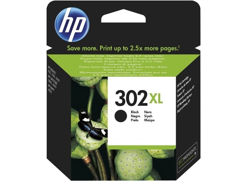 HP 302XL Black Original Ink Cartridge - High Yield 480 Pages- F6U68AE