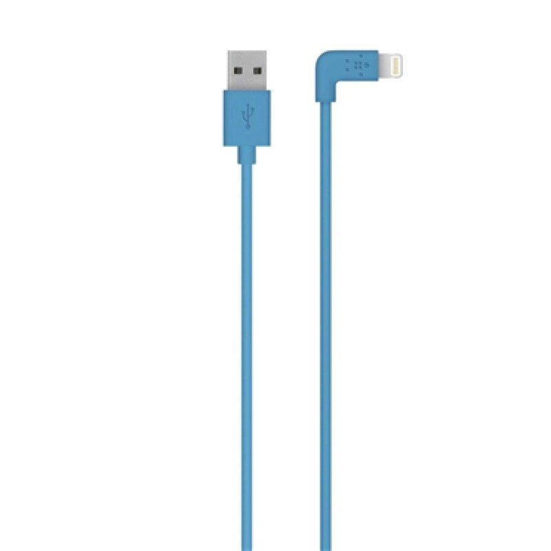 Image of Belkin FLAT 2.4amp Lightning Sync & Charge cable Compatible with Apple iPhone 5/iPad mini/iPad 4 in Blue 1.2m