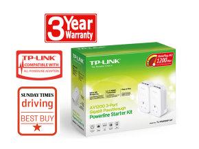 TP-LINK TL-PA8030P KIT AV1200 3-Port Gigabit Passthrough Powerline Adapter Starter Kit  2 Units Pack