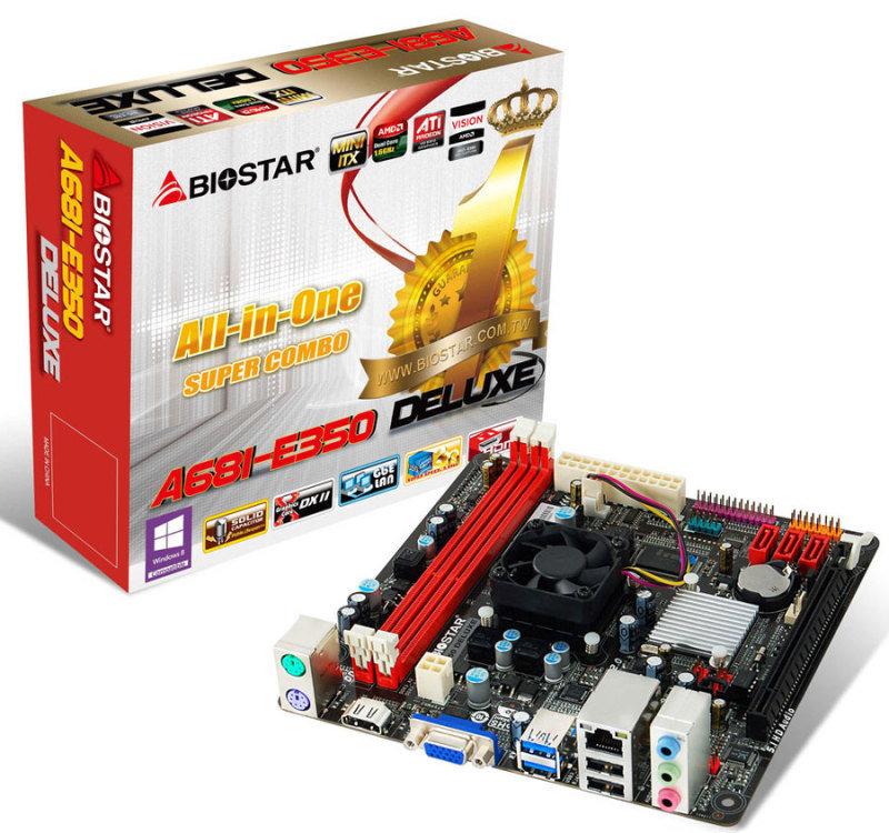 Image of Biostar A68I-E350 DELUXE Ver 6.x APU E350 Dual-Core VGA HDMI 6-Channel HD Audio Mini ITX Motherboard