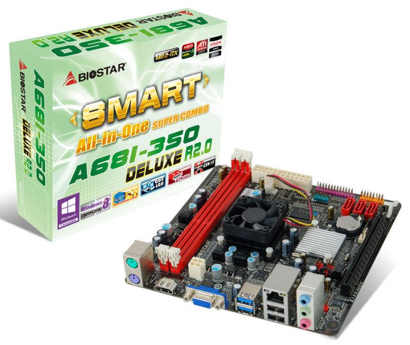 Image of Biostar A68I-350 DELUXE R2.0 Ver. 6.x AMD Fusion VGA HDMI 6-Channel HD Audio Mini ITX Motherboard