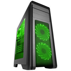 Falcon Gaming PC Case With 2 x 12cm Green 16 LED Front Fans