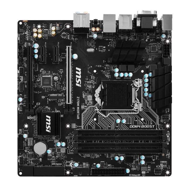 MSI Z170M Mortar Socket LGA 1151 VGA DVI HDMI 8-channel HD Audio mATX Motherboard